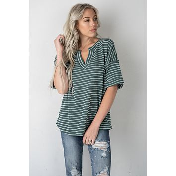 Teal and White Striped Top