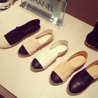 Beige CC Espadrilles Flat Canvas OR Mesh OR Leather Shoes