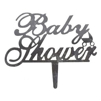 Baby Shower Mirrored Acrylic Cake Topper, Silver, 4-1/4-Inch