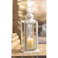 White Colonial Rectangle Candle Lantern