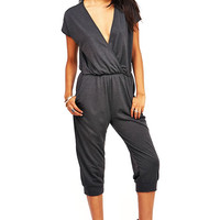 Surplice Cropped Jumpsuit