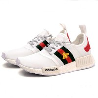Gucci x Adidas NMD Women Men Casual Comfortable Embroidery Bee Sports Running Shoes Sneakers White Couple Shoe I