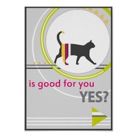funny cat neon vibrant colors bad English advice Poster
