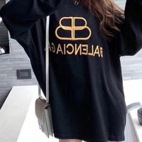 """""""Balenciaga"""" Woman's Casual Fashion Letter Embroidery  Printing Loose  Long Sleeve Tops"""