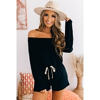 Falling To Pieces Off The Shoulder Romper (Black)