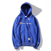 Champion autumn new tide brand embroidery letter logo round neck hooded sweater Blue