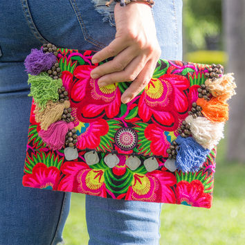 Ethnic Ipad Cover Bag Handmade Hmong Embroidered in Black