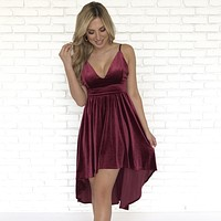 Vivid Dreams Velvet Wine Dress