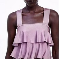 Women's wear is a hit with ruffled knit tops