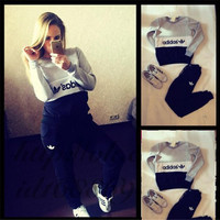 "Fashion ""Adidas"" Long Sleeve Round-neck Patchwork Sportswear Set"
