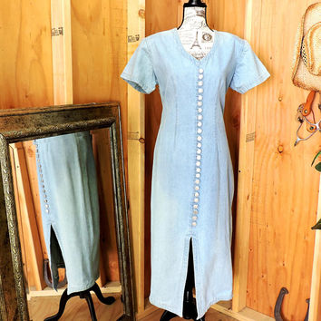 Long denim dress M / L 12 / 14 / 80s denim dress / long jean dress
