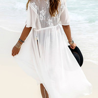 The Way She Moves White Lace Detail Short Sleeve Drawstring Chiffon Kimono