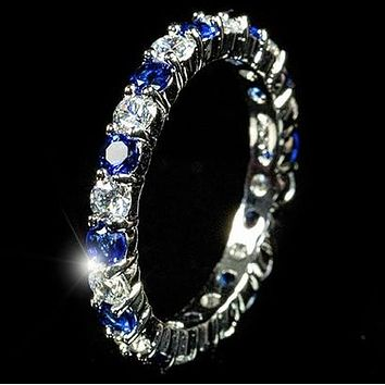 Elizabeth Sapphire Blue Eternity Stackable Ring | 4ct | Sterling Silver