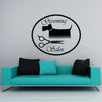 Grooming Salon Wall Decal Pet Shop Vinyl Sticker Decals Dog Comb Scissors Grooming Salon Decor Interior Art Murals Window Decal AN730