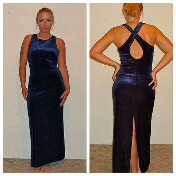 80s Blue Velvet Floor Length Gown, Maxi Dress, All that Jazz, 1980s Open Back Long Tank Top Dress