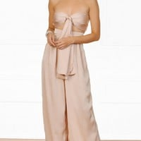 In The Lead Nude Strapless Tie Front High Waist Palazzo Pant Two Piece Set (New Color Added!)