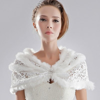 2015 wedding formal dress diamond lace fur shawl outerwear bride cape white autumn and winter (Size: S, Color: White) = 1958008452