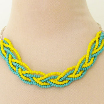 Braided Necklace Turquoise Blue and Bright Yellow Glass Beads on Silver Chain
