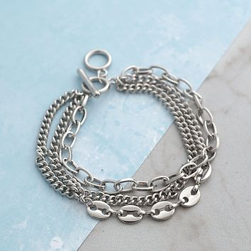 Multi Layer Chain Bracelet in Silver Tone