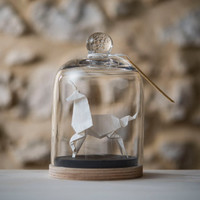 Sculpture Origami Unicorn. Glass Dome. White Paper. Taxidermy. Paper Anniversary Gift for Her.  Wedding Anniversary Gift for Him. Birth Gift