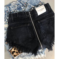 Zipper Back High Waisted Black Babe Shorts