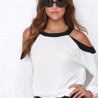White Long Sleeve Crop Shoulder Blouse