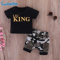 Wisefin Newborn Baby Boys Clothing Set Summer Infants Shirts Toddler Clothes Black Tops + Camo Pant 2Pcs Newborn Baby Outfits