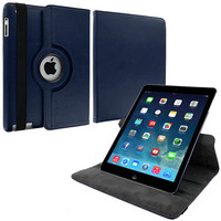 Navy Blue 360 Rotating Folio Stand Case Cover for Apple iPad Air
