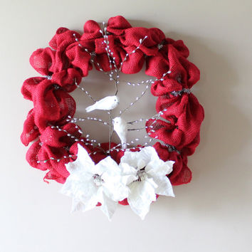 Christmas Wreath, Burlap Christmas Wreath, Winter Wreath, Valentines Wreath, Wedding Decor
