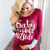 Baby It's Cold Outside Long Sleeve Top Burgundy