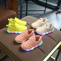 2018 European Spring/Autumn LED lighted soft kids shoes cool casual children casual shoes fashion baby girls boys shoes