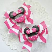 Minnie Mouse Hair Bows Pigtail Set Sister Bows Baby Pink Minnie Hair Bow Set for Babies Girls Teens and Adults Kawaii Fashion