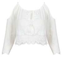 White Cold Shoulder Lace Panel Tie Front Blouse