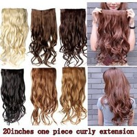 """Amazon.com: Better Dealz 20"""" 135g Long Curly Clip-on Hair Extension Wigs Chestnut Brown,chocolate Brown,light Blonde,medium Brown,brown,natural Black Six Color to Choose (Chestnut Brown): Health & Personal Care"""