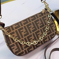 Wearwinds Fendi New fashion more letter print canvas shopping leisure shoulder bag crossbody bag