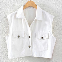 White Cropped Sleeveless Shirt