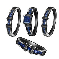 3.2 Ct Blue Sapphire Four & TRIO Matching Engagement & Bridal Band Ring Set