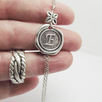 Spring SALE Stamped Necklace, Initial Personalized Jewelry, Monogrammed Alphabet Pendant, Wax Seal Necklace