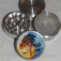 Ying Yang Tree Of Life 4 Piece CNC Aluminum Pollen Herb Grinder Grinders