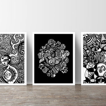 Black and White Nordic Inspired Abstract Set of 3 Prints – 8 x 10 or 11 x 14
