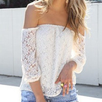 White Lace Off Shoulder Blouse