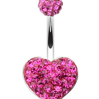 Classic Heart Sparkling Belly Button Ring