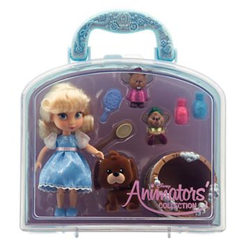 """disney parks cinderella animator mini doll set 5"""" with accessories new with case"""