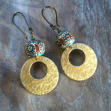 Luna  Earrings // tibetan, brass  // ready to ship, gypsy, spirittribe, boho, festival, healing, silver, jewerly, turquoise, coral