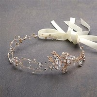 SALE  Handmade Couture Bridal Hair Headband with Hand Painted 14K Gold Vines