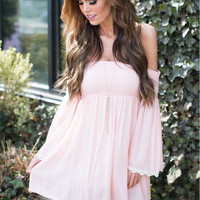 Light Pink Off the Shoulder Pleated Shift Dress