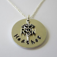 Personalized Hand Stamped Aluminum Necklace / RN Necklace with RN Nurse Charm / Custom RN Hand Stamped Necklace / Hand Stamped Jewelry