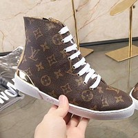 LV Louis Vuitton Popular Women Casual Print High Top Shoes Sneakers Boots Coffee/Golden I-ALS-XZ