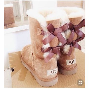"""""""UGG"""" Winter Popular Women Warm Two Bowknot Snow Boots Shoes Brown I/A"""