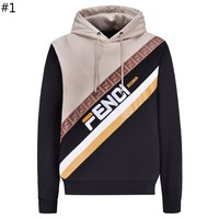 Fendi 2018 winter new trend men's twill color matching printed letter embroidery hooded sweater #1